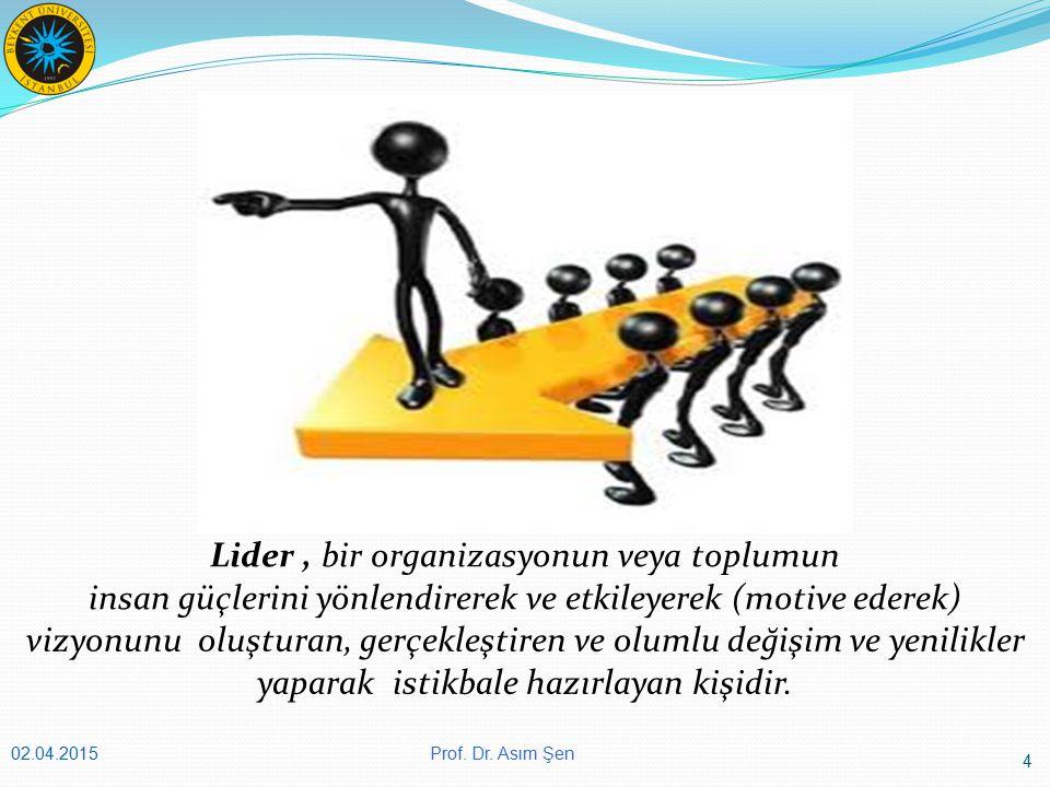 4 02.04.2015 Lider, bir organizasyonun veya toplumun insan güçlerini yönlendirerek ve etkileyerek (motive ederek) vizyonunu oluşturan, gerçekleştiren ve olumlu değişim ve yenilikler yaparak istikbale hazırlayan kişidir.