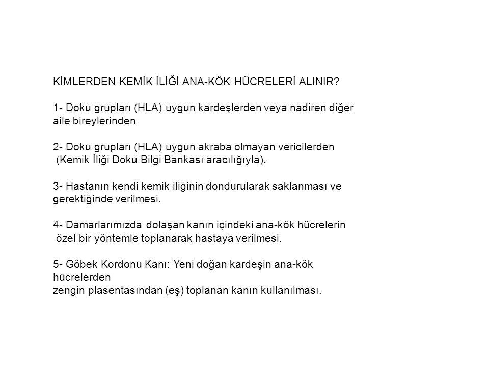KİMLERDEN KEMİK İLİĞİ ANA-KÖK HÜCRELERİ ALINIR.