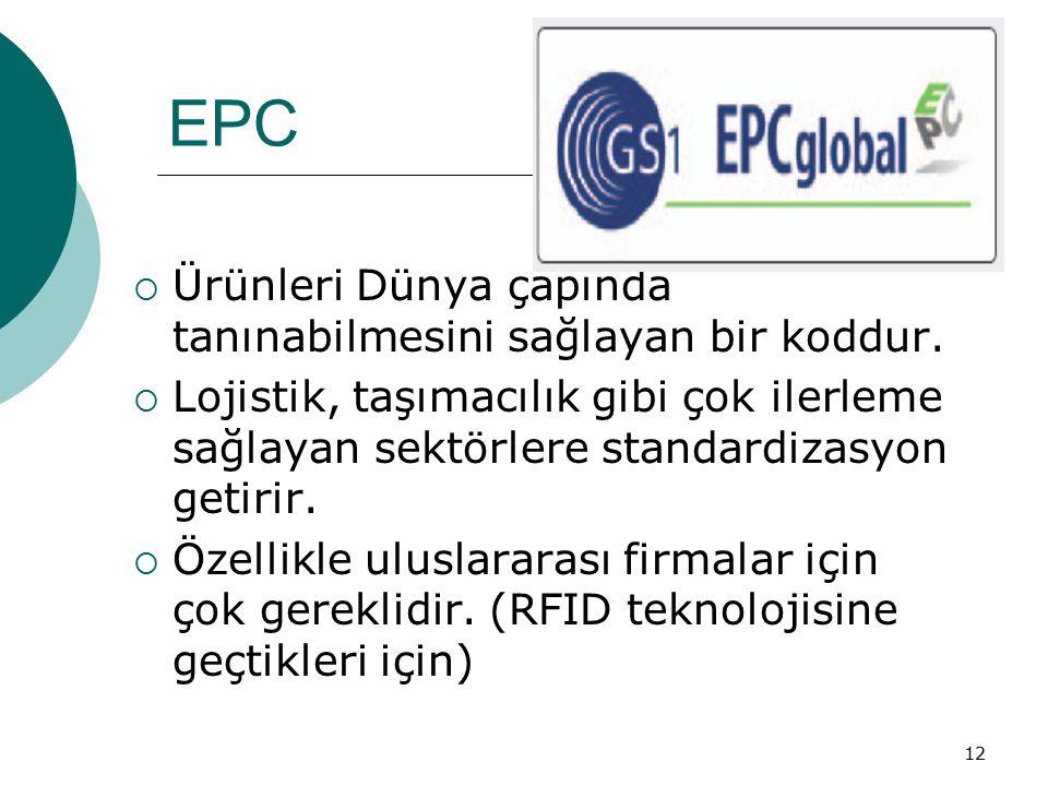 12 EPC  Ürünleri Dünya çapında tanınabilmesini sağlayan bir koddur.  Lojistik, taşımacılık gibi çok ilerleme sağlayan sektörlere standardizasyon get