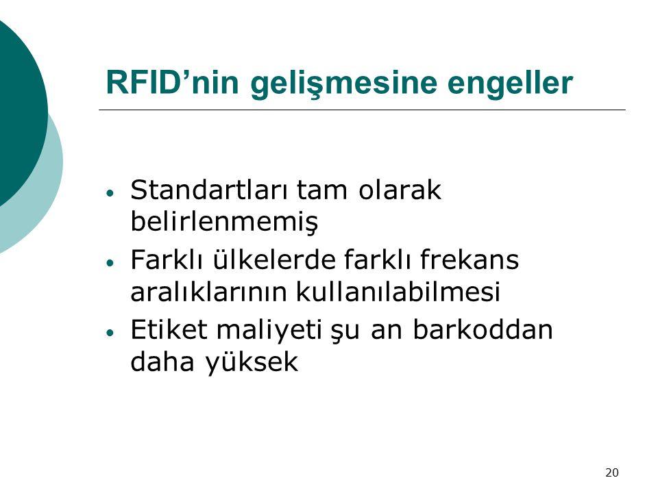 20 RFID'nin gelişmesine engeller Standartları tam olarak belirlenmemiş Farklı ülkelerde farklı frekans aralıklarının kullanılabilmesi Etiket maliyeti şu an barkoddan daha yüksek