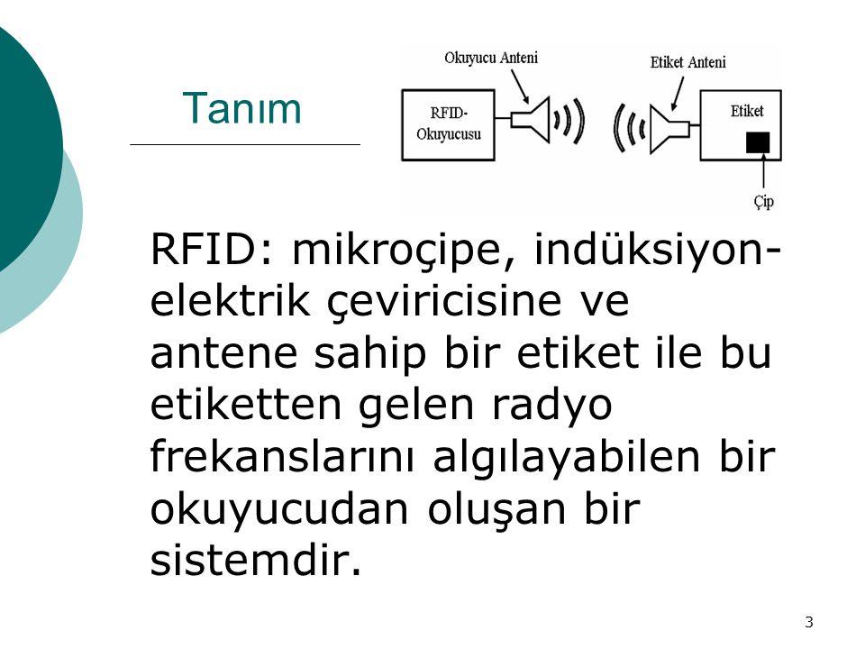 3 Tanım RFID: mikroçipe, indüksiyon- elektrik çeviricisine ve antene sahip bir etiket ile bu etiketten gelen radyo frekanslarını algılayabilen bir okuyucudan oluşan bir sistemdir.