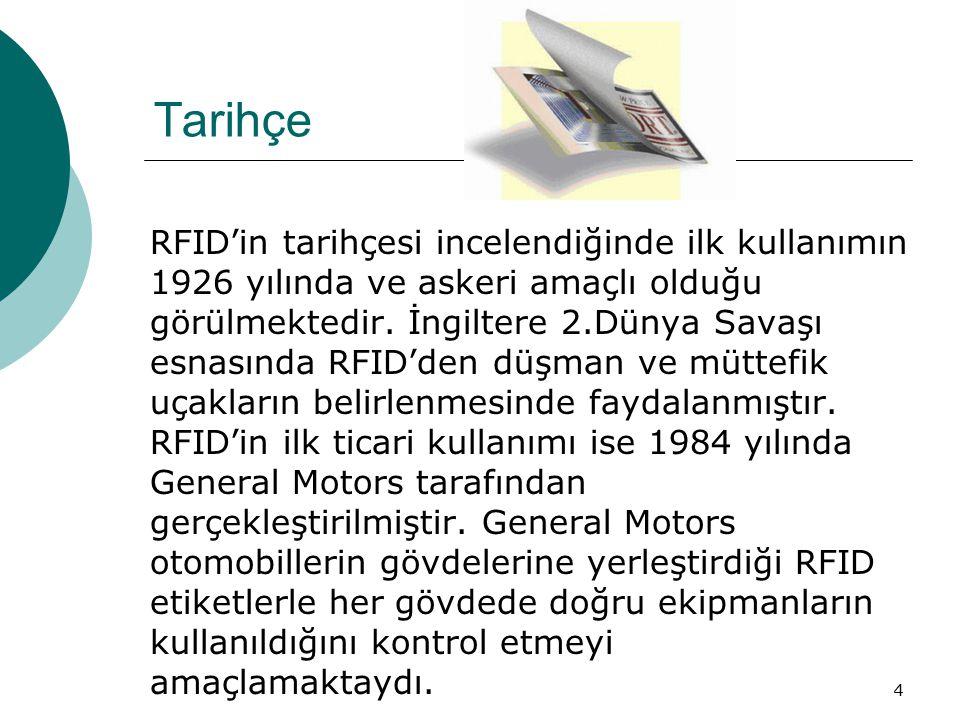 4 Tarihçe RFID'in tarihçesi incelendiğinde ilk kullanımın 1926 yılında ve askeri amaçlı olduğu görülmektedir. İngiltere 2.Dünya Savaşı esnasında RFID'