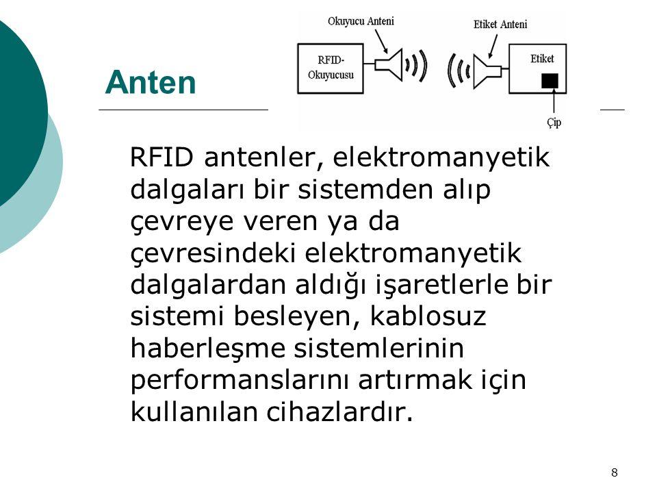 8 Anten RFID antenler, elektromanyetik dalgaları bir sistemden alıp çevreye veren ya da çevresindeki elektromanyetik dalgalardan aldığı işaretlerle bir sistemi besleyen, kablosuz haberleşme sistemlerinin performanslarını artırmak için kullanılan cihazlardır.
