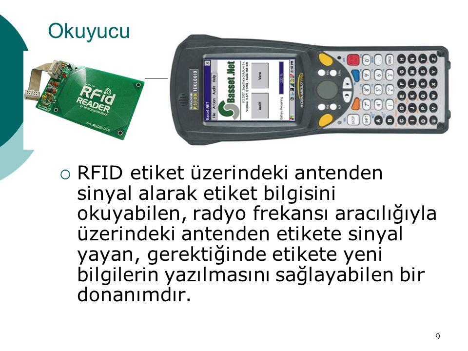 9 Okuyucu  RFID etiket üzerindeki antenden sinyal alarak etiket bilgisini okuyabilen, radyo frekansı aracılığıyla üzerindeki antenden etikete sinyal yayan, gerektiğinde etikete yeni bilgilerin yazılmasını sağlayabilen bir donanımdır.