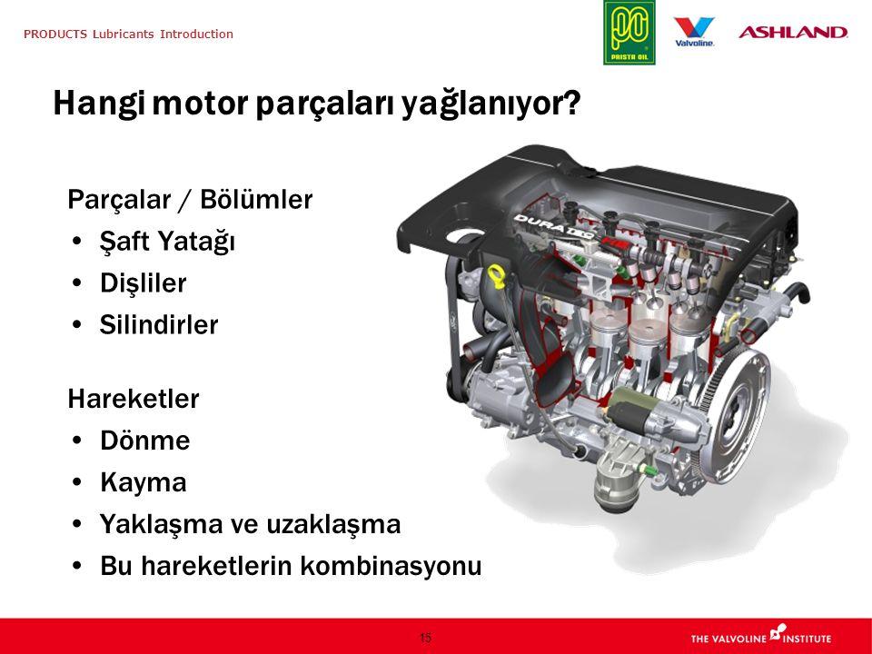 PRODUCTS Lubricants Introduction 15 Hangi motor parçaları yağlanıyor? Parçalar / Bölümler Şaft Yatağı Dişliler Silindirler Hareketler Dönme Kayma Yakl