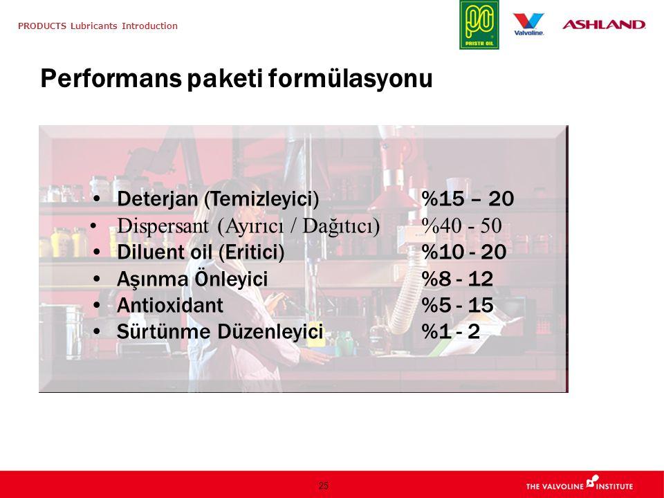 PRODUCTS Lubricants Introduction 25 Performans paketi formülasyonu Deterjan (Temizleyici) %15 – 20 Dispersant (Ayırıcı / Dağıtıcı) %40 - 50 Diluent oi
