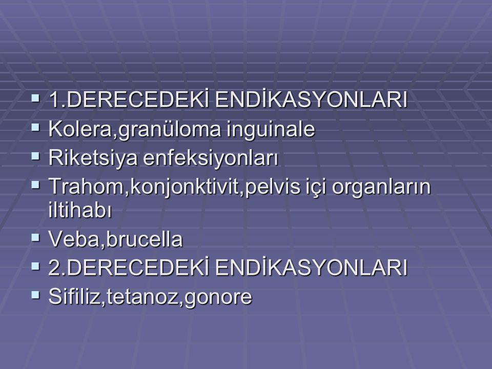  1.DERECEDEKİ ENDİKASYONLARI  Kolera,granüloma inguinale  Riketsiya enfeksiyonları  Trahom,konjonktivit,pelvis içi organların iltihabı  Veba,bruc