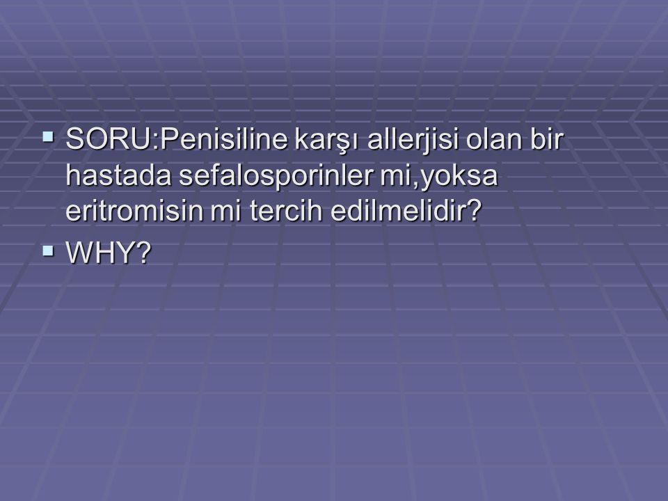 SSSSORU:Penisiline karşı allerjisi olan bir hastada sefalosporinler mi,yoksa eritromisin mi tercih edilmelidir? WWWWHY?