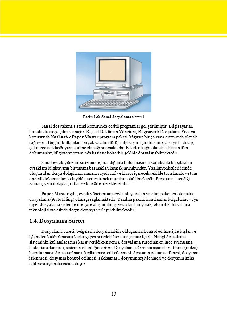 15 Resim1.6: Sanal dosyalama sistemi Sanal dosyalama sistemi konusunda çeşitli programlar geliştirilmiştir.