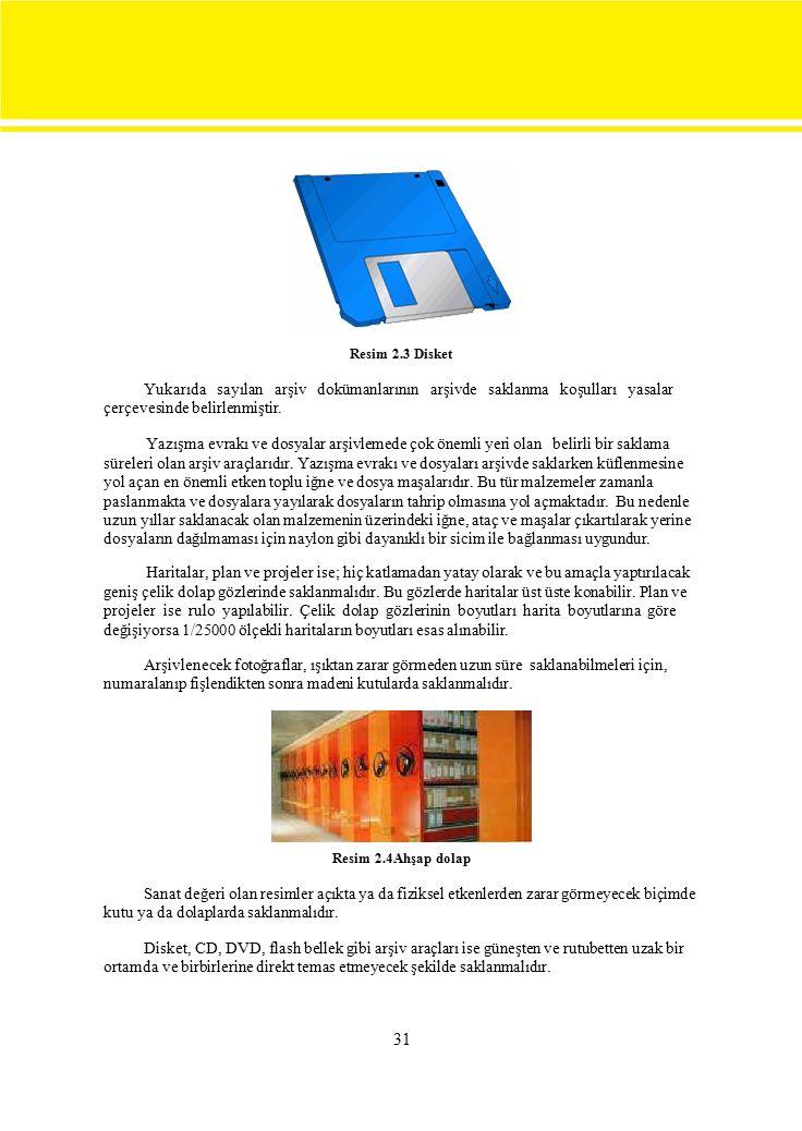 31 Resim 2.3 Disket Yukarıda sayılan arşiv dokümanlarının arşivde saklanma koşulları yasalar çerçevesinde belirlenmiştir.