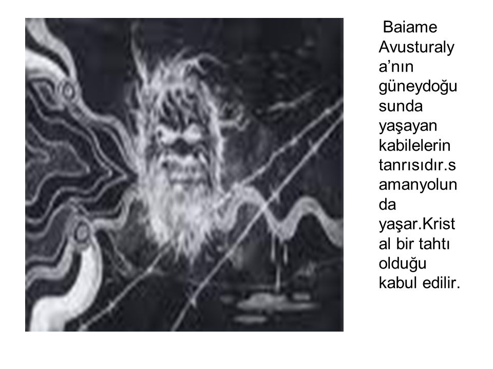 Baiame Avusturaly a'nın güneydoğu sunda yaşayan kabilelerin tanrısıdır.s amanyolun da yaşar.Krist al bir tahtı olduğu kabul edilir.