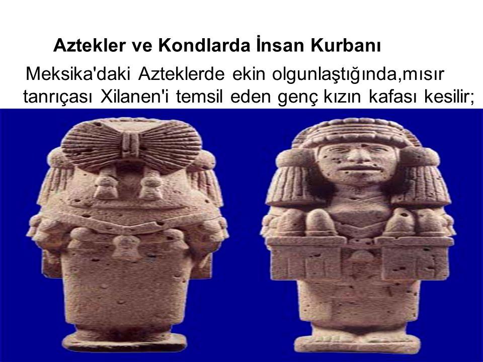 Aztekler ve Kondlarda İnsan Kurbanı Meksika'daki Azteklerde ekin olgunlaştığında,mısır tanrıçası Xilanen'i temsil eden genç kızın kafası kesilir;
