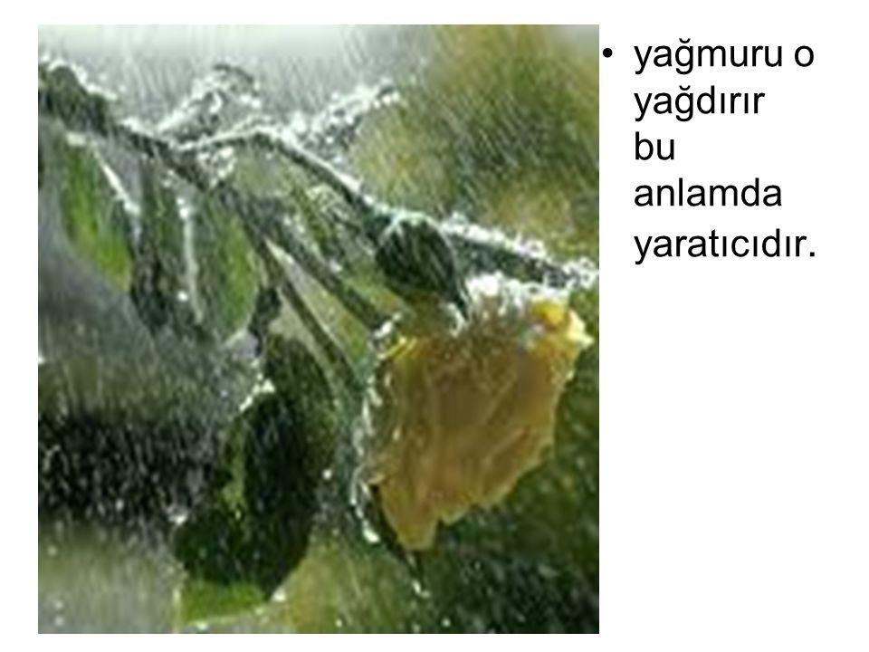 yağmuru o yağdırır bu anlamda yaratıcıdır.