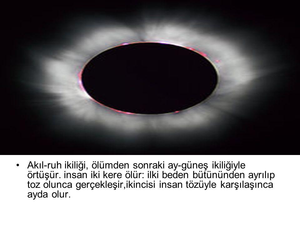 Akıl-ruh ikiliği, ölümden sonraki ay-güneş ikiliğiyle örtüşür. insan iki kere ölür: ilki beden bütününden ayrılıp toz olunca gerçekleşir,ikincisi insa