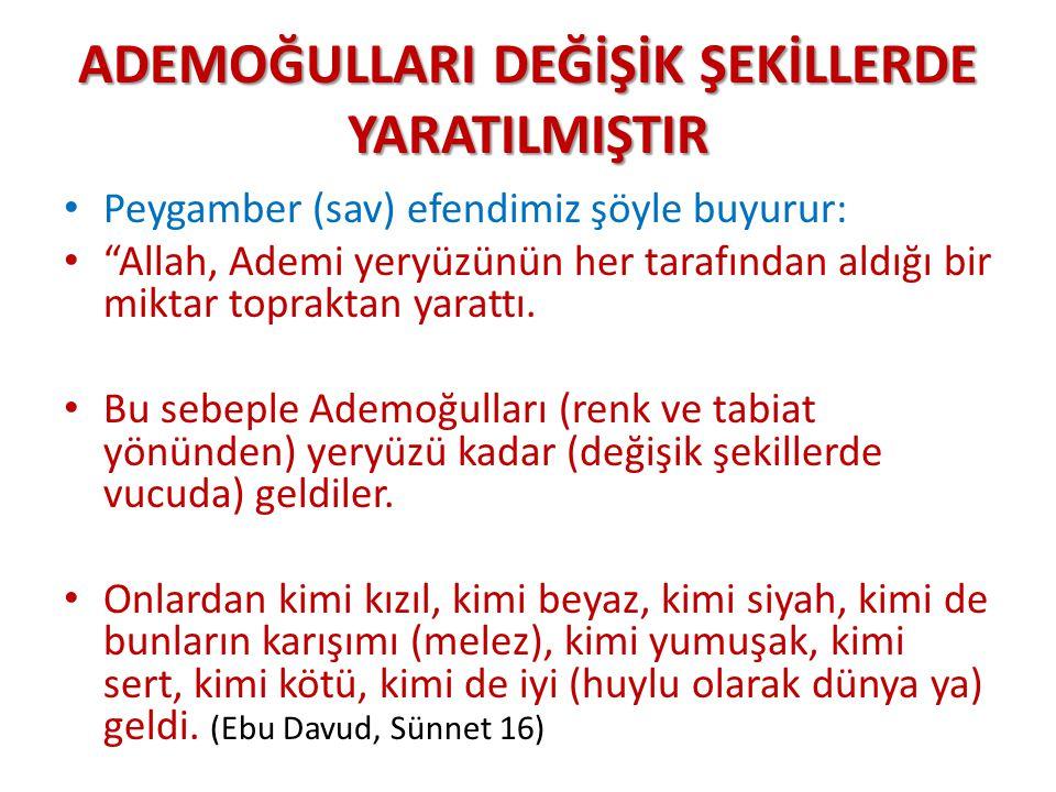 """ADEMOĞULLARIDEĞİŞİK ŞEKİLLERDE YARATILMIŞTIR ADEMOĞULLARI DEĞİŞİK ŞEKİLLERDE YARATILMIŞTIR Peygamber (sav) efendimiz şöyle buyurur: """"Allah, Ademi yery"""
