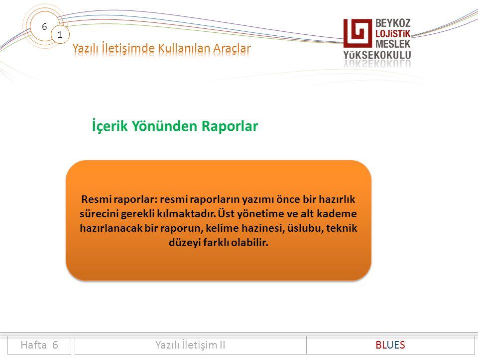 6 1 İçerik Yönünden Raporlar Hafta 6Yazılı İletişim IIBLUES Resmi raporlar: resmi raporların yazımı önce bir hazırlık sürecini gerekli kılmaktadır. Üs