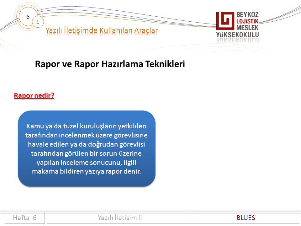 6 1 Rapor ve Rapor Hazırlama Teknikleri Hafta 6Yazılı İletişim IIBLUES Rapor nedir? Kamu ya da tüzel kuruluşların yetkilileri tarafından incelenmek üz
