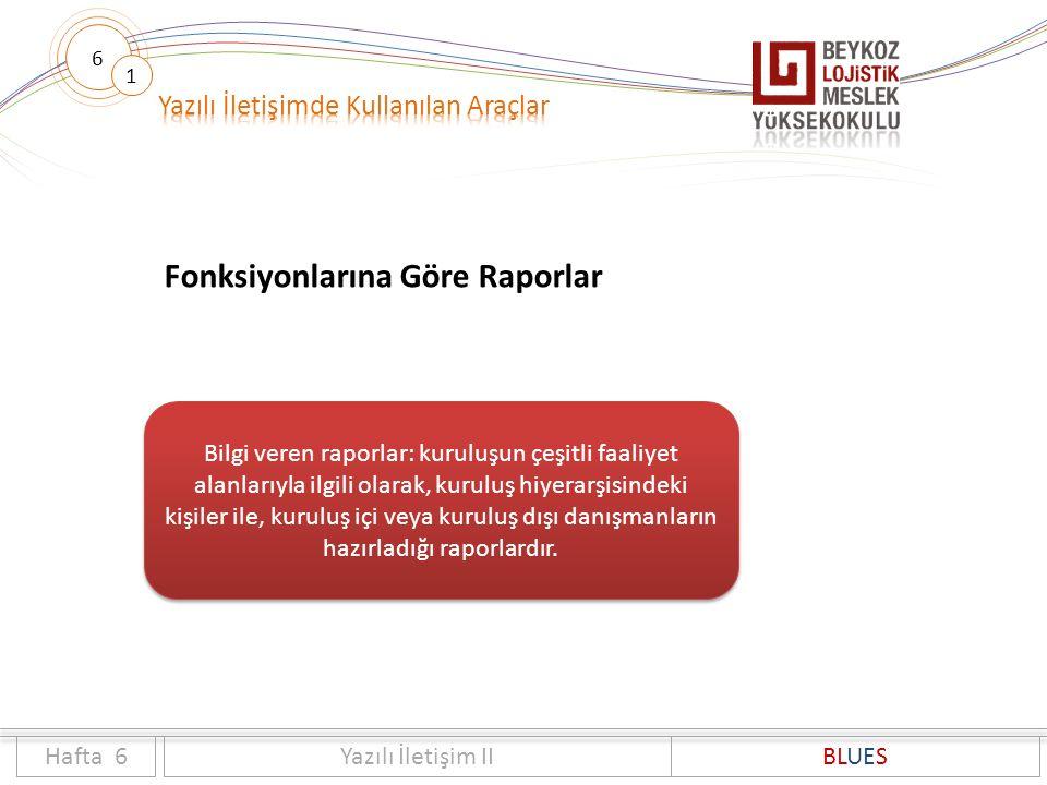 6 1 Fonksiyonlarına Göre Raporlar Hafta 6Yazılı İletişim IIBLUES Bilgi veren raporlar: kuruluşun çeşitli faaliyet alanlarıyla ilgili olarak, kuruluş h