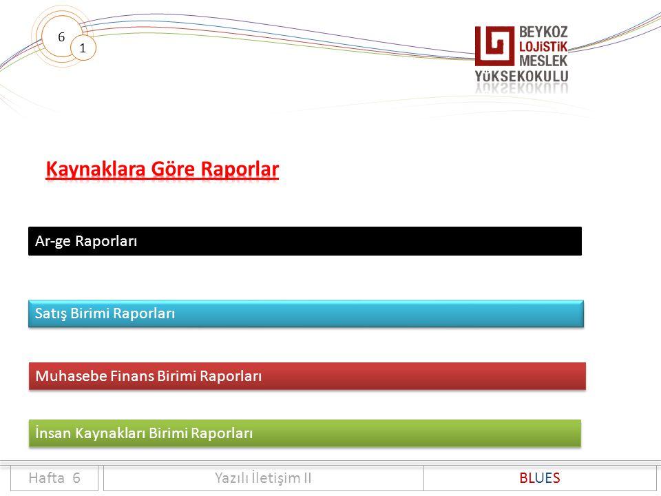 6 1 Hafta 6Yazılı İletişim IIBLUES Ar-ge Raporları Satış Birimi Raporları Muhasebe Finans Birimi Raporları İnsan Kaynakları Birimi Raporları