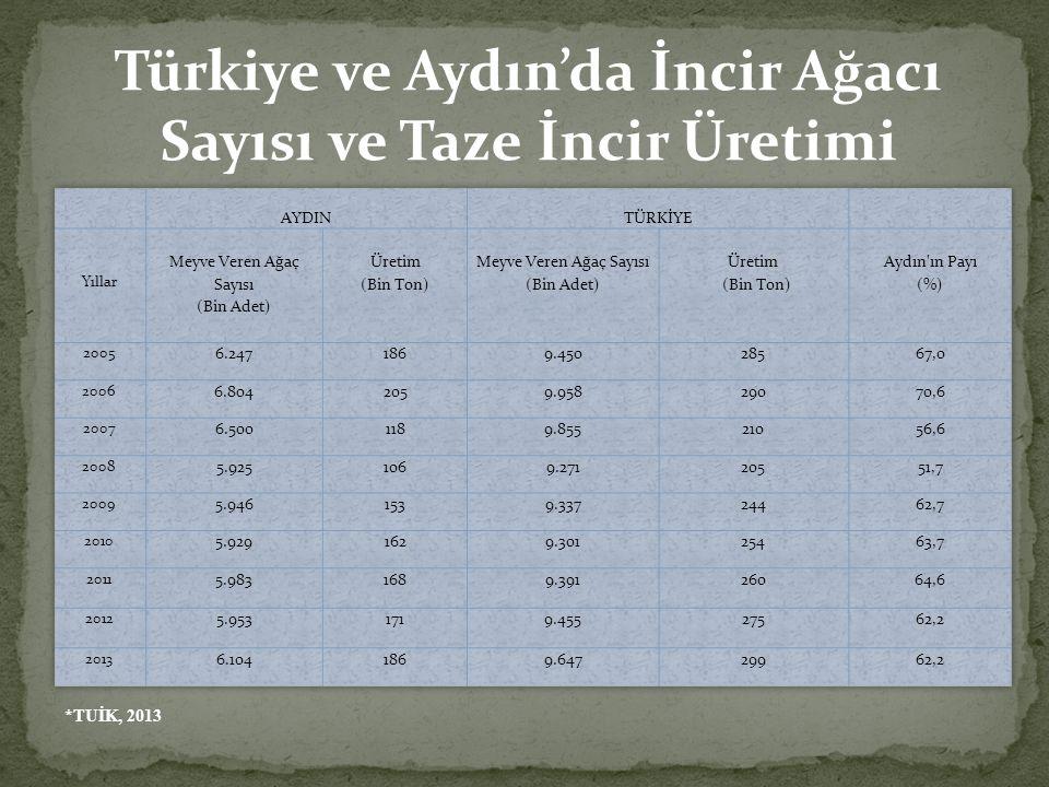 *TUİK, 2013 Türkiye ve Aydın'da İncir Ağacı Sayısı ve Taze İncir Üretimi