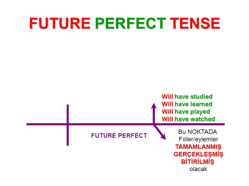 FUTURE PERFECT TENSE They w ww will have completed the bridge by the end of the year.
