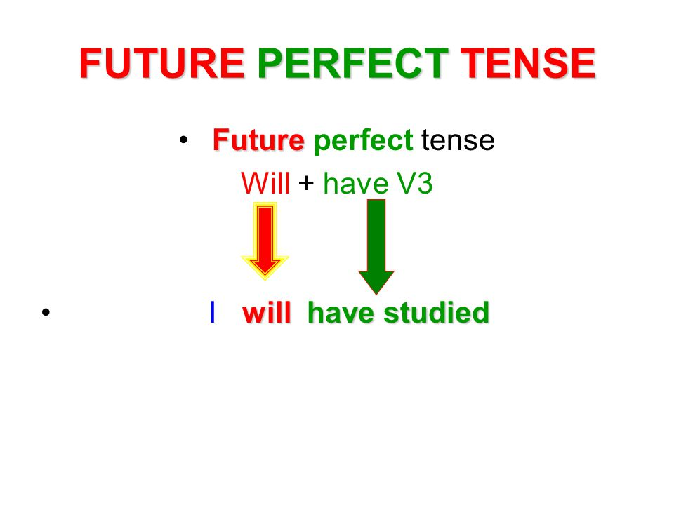 FUTURE PERFECT TENSE Future perfect tense Will + have V3 I w ill have studied