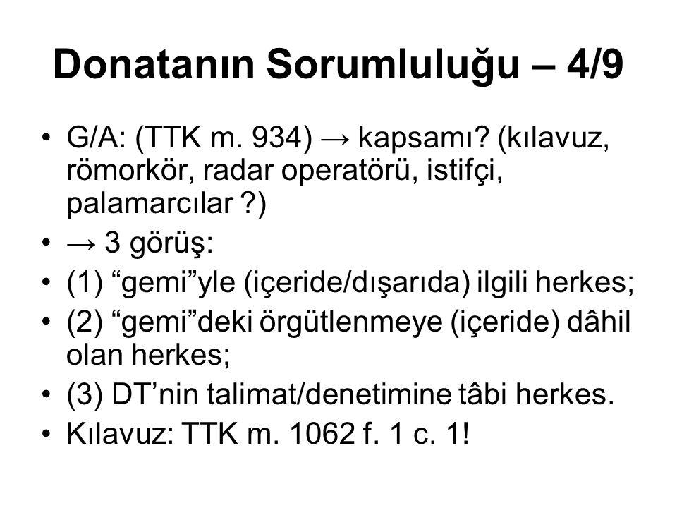 """Donatanın Sorumluluğu – 4/9 G/A: (TTK m. 934) → kapsamı? (kılavuz, römorkör, radar operatörü, istifçi, palamarcılar ?) → 3 görüş: (1) """"gemi""""yle (içeri"""