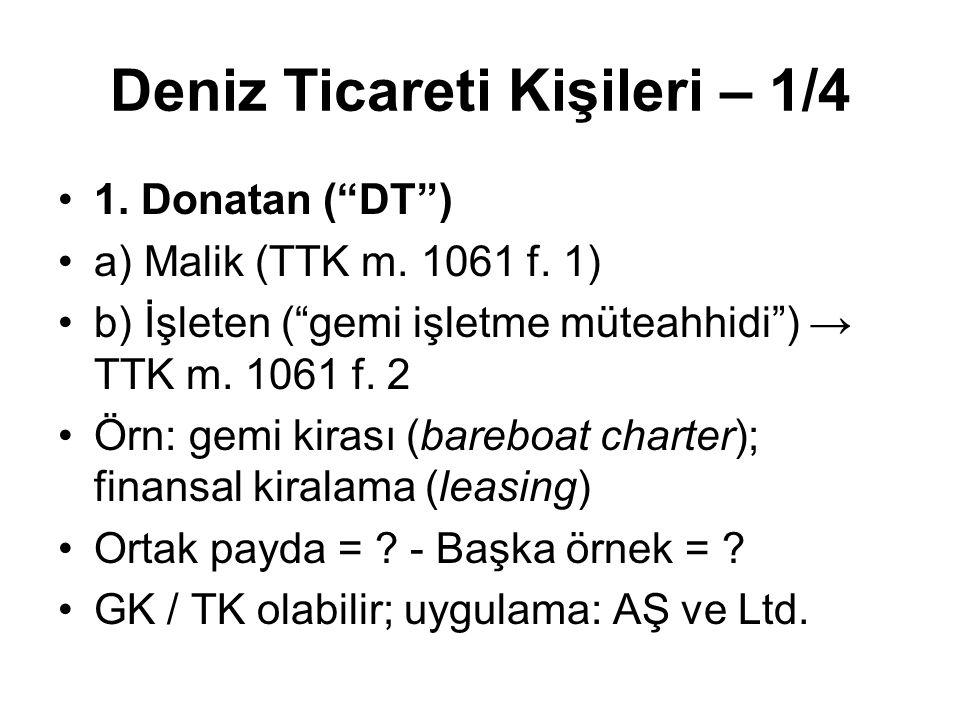 """Deniz Ticareti Kişileri – 1/4 1. Donatan (""""DT"""") a) Malik (TTK m. 1061 f. 1) b) İşleten (""""gemi işletme müteahhidi"""") → TTK m. 1061 f. 2 Örn: gemi kirası"""