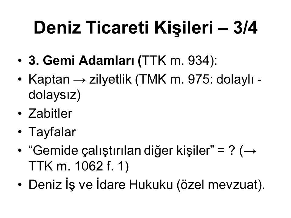 """Deniz Ticareti Kişileri – 3/4 3. Gemi Adamları (TTK m. 934): Kaptan → zilyetlik (TMK m. 975: dolaylı - dolaysız) Zabitler Tayfalar """"Gemide çalıştırıla"""