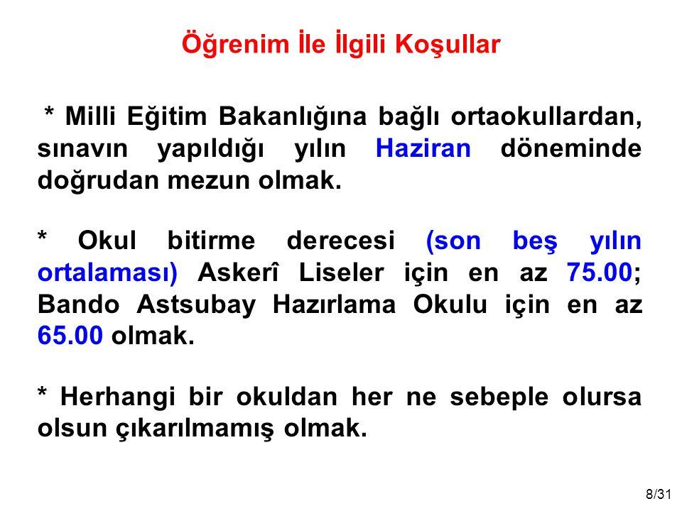 9/31 * Türk Silahlı Kuvvetleri Sağlık Yeterliliği Yönetmeliğinin öğrenci adaylarına ilişkin sağlık niteliklerine sahip olmak.