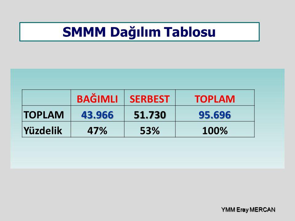 BAĞIMLISERBESTTOPLAM 43.96651.73095.696 Yüzdelik47%53%100% SMMM Dağılım Tablosu YMM Eray MERCAN
