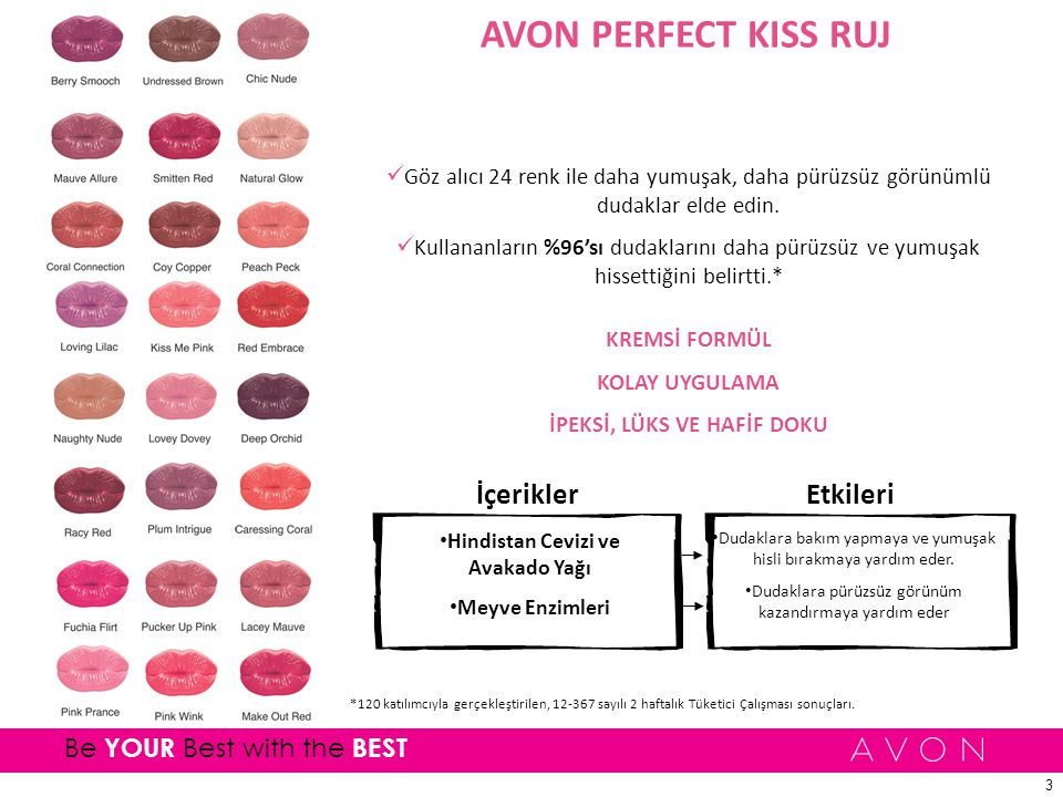 3 Be YOUR Best with the BEST AVON PERFECT KISS RUJ Göz alıcı 24 renk ile daha yumuşak, daha pürüzsüz görünümlü dudaklar elde edin.