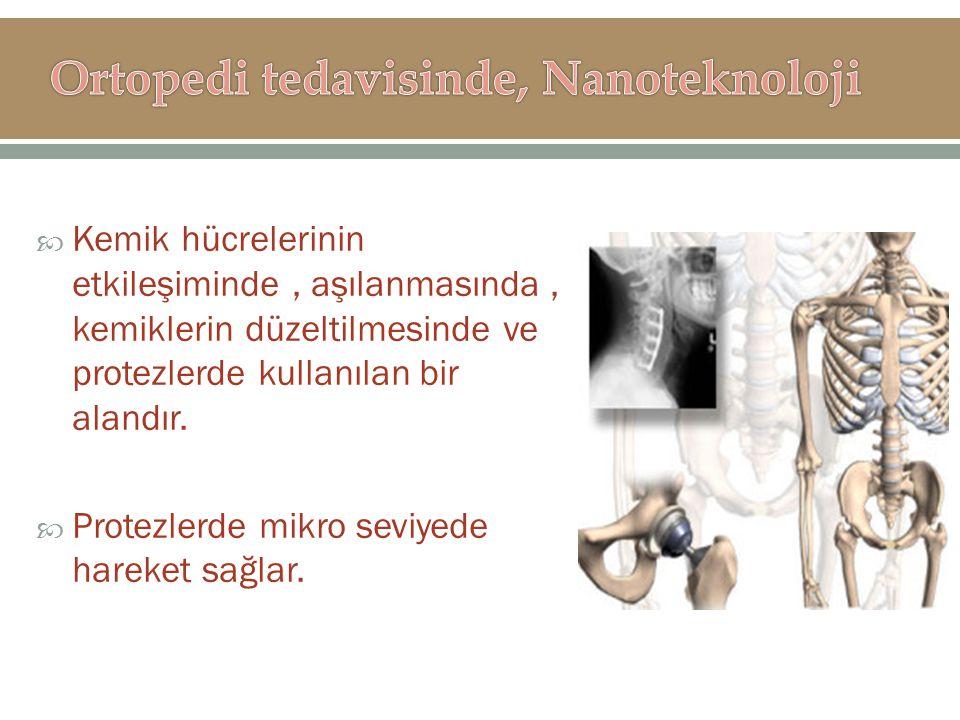  Kemik hücrelerinin etkileşiminde, aşılanmasında, kemiklerin düzeltilmesinde ve protezlerde kullanılan bir alandır.  Protezlerde mikro seviyede hare
