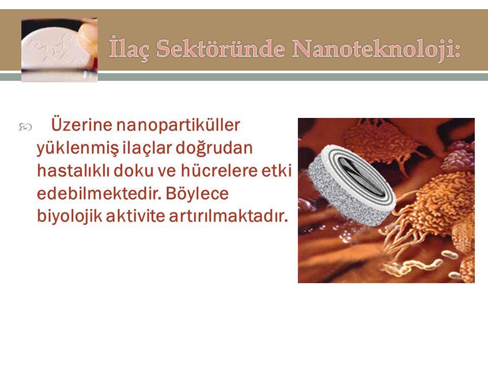  Üzerine nanopartiküller yüklenmiş ilaçlar doğrudan hastalıklı doku ve hücrelere etki edebilmektedir. Böylece biyolojik aktivite artırılmaktadır.
