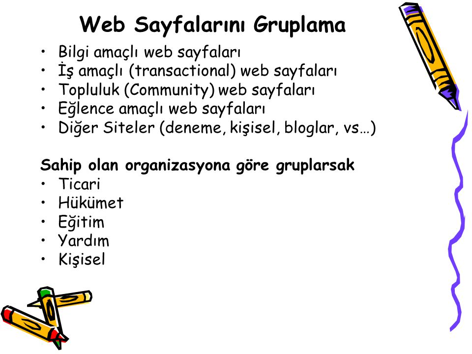 Web Sayfalarını Gruplama Bilgi amaçlı web sayfaları İş amaçlı (transactional) web sayfaları Topluluk (Community) web sayfaları Eğlence amaçlı web sayf