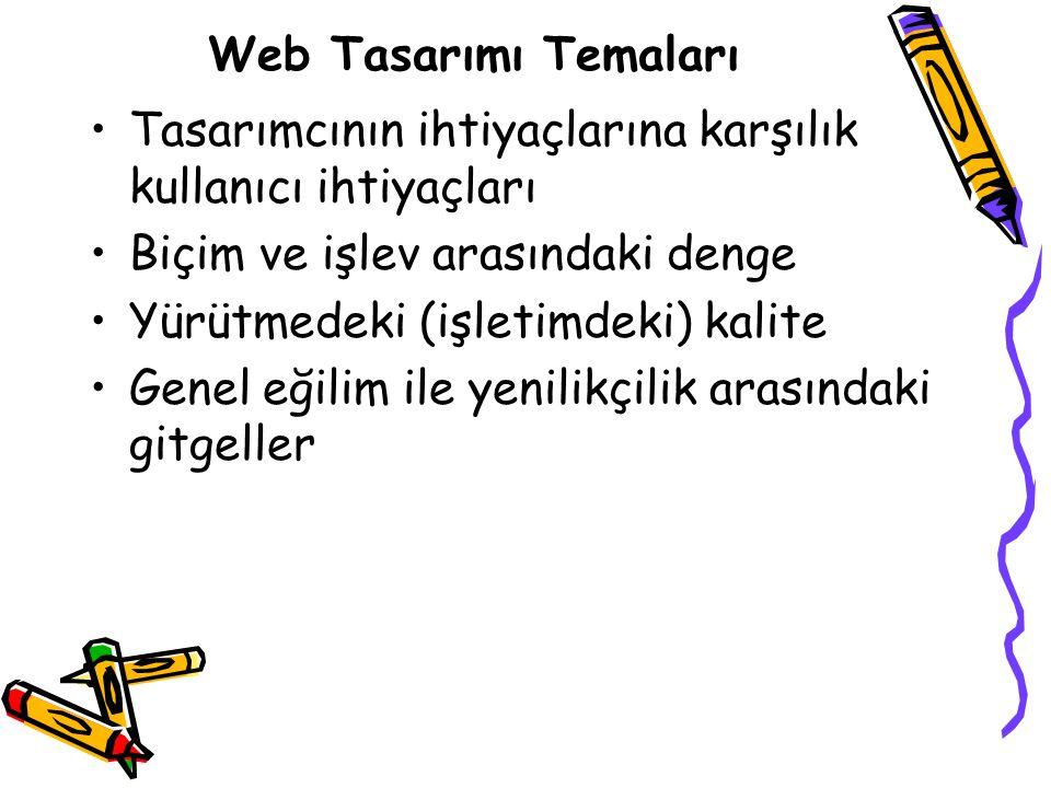 Web Tasarımı Temaları Tasarımcının ihtiyaçlarına karşılık kullanıcı ihtiyaçları Biçim ve işlev arasındaki denge Yürütmedeki (işletimdeki) kalite Genel