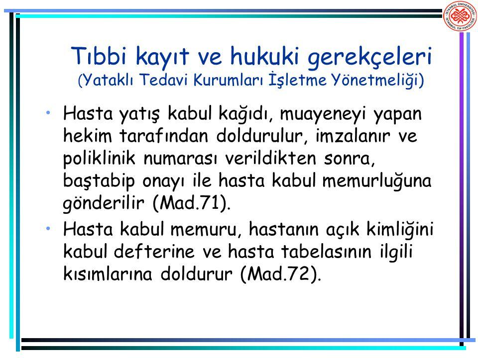 Tıbbi kayıt ve hukuki gerekçeleri ( Yataklı Tedavi Kurumları İşletme Yönetmeliği) Hasta yatış kabul kağıdı, muayeneyi yapan hekim tarafından doldurulu