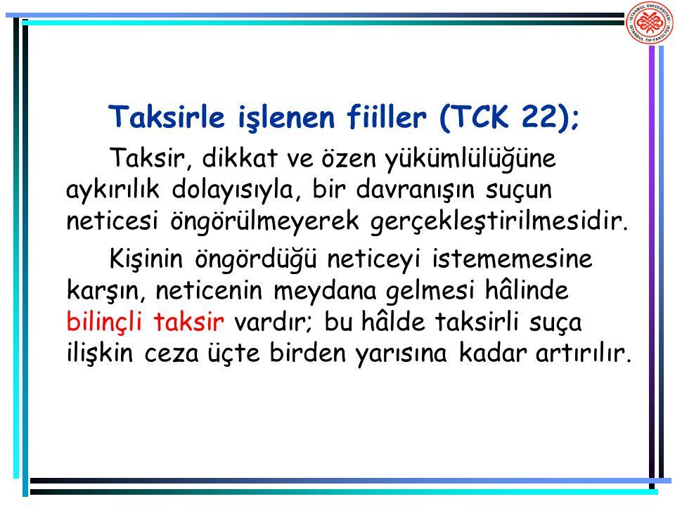 Taksirle işlenen fiiller (TCK 22); Taksir, dikkat ve özen yükümlülüğüne aykırılık dolayısıyla, bir davranışın suçun neticesi öngörülmeyerek gerçekleşt