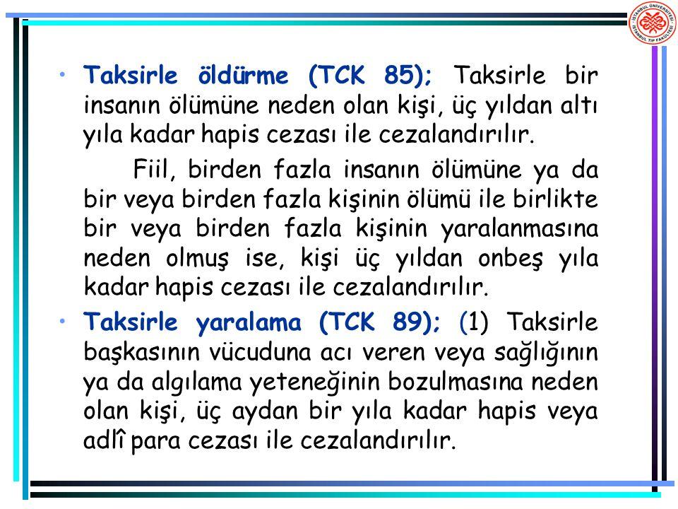 Taksirle öldürme (TCK 85); Taksirle bir insanın ölümüne neden olan kişi, üç yıldan altı yıla kadar hapis cezası ile cezalandırılır. Fiil, birden fazla