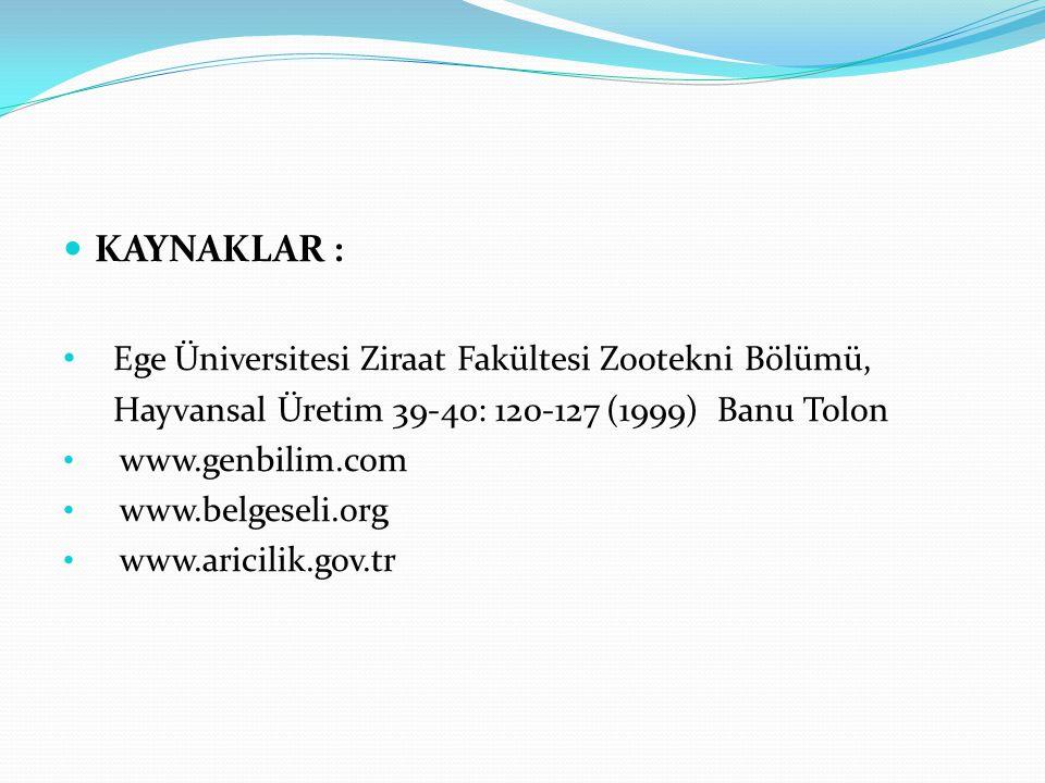 KAYNAKLAR : Ege Üniversitesi Ziraat Fakültesi Zootekni Bölümü, Hayvansal Üretim 39-40: 120-127 (1999) Banu Tolon www.genbilim.com www.belgeseli.org ww