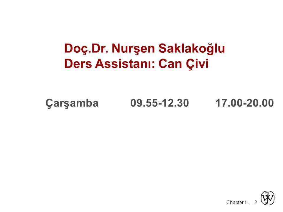 Chapter 1 - 2 Doç.Dr. Nurşen Saklakoğlu Ders Assistanı: Can Çivi Çarşamba09.55-12.3017.00-20.00