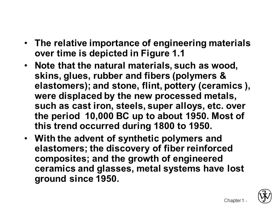 Chapter 1 - The relative importance of engineering materials over time is depicted in Figure 1.1 Note that the natural materials, such as wood, skins,