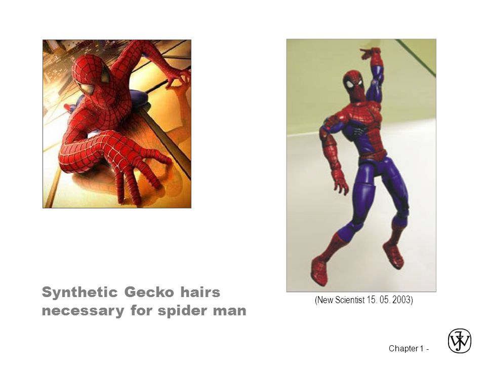 Chapter 1 - Synthetic Gecko hairs necessary for spider man (New Scientist 15. 05. 2003)