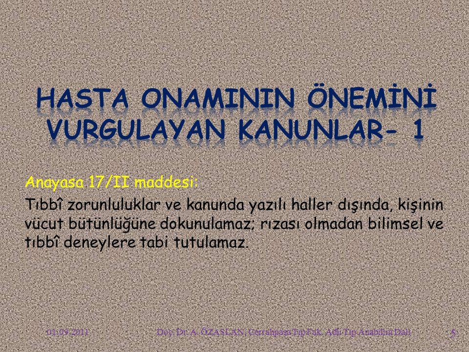 Tababet ve Şuabatı Sanatlarının Tarz-ı İcrasına Dair 1219 Sayılı Kanunun 70/I maddesi: Tabibler, diş tabibleri ve dişçiler, yapacakları her nevi ameliye için hastanın (......) evveliemirde muvafakatini alırlar.