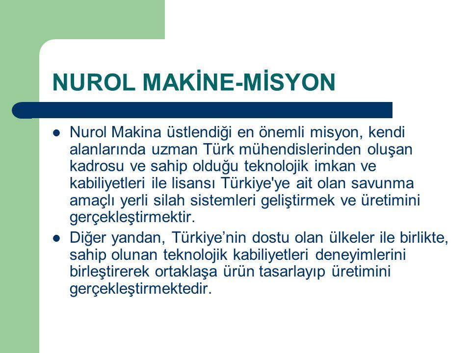 NUROL MAKİNE-MİSYON Nurol Makina üstlendiği en önemli misyon, kendi alanlarında uzman Türk mühendislerinden oluşan kadrosu ve sahip olduğu teknolojik
