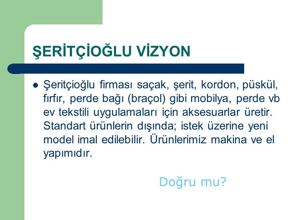 ŞERİTÇİOĞLU VİZYON Şeritçioğlu firması saçak, şerit, kordon, püskül, fırfır, perde bağı (braçol) gibi mobilya, perde vb ev tekstili uygulamaları için
