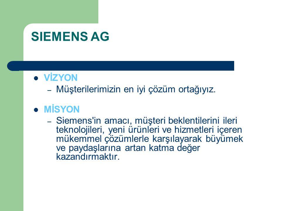 SIEMENS AG VİZYON – Müşterilerimizin en iyi çözüm ortağıyız. MİSYON – Siemens'in amacı, müşteri beklentilerini ileri teknolojileri, yeni ürünleri ve h