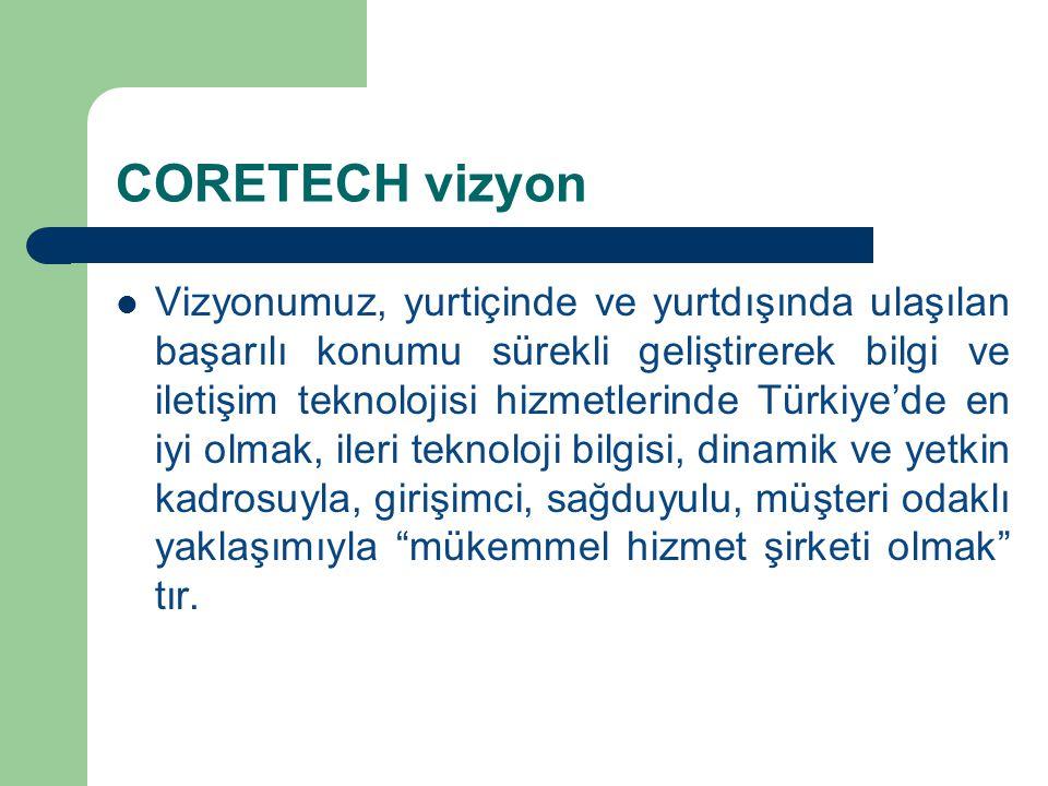CORETECH vizyon Vizyonumuz, yurtiçinde ve yurtdışında ulaşılan başarılı konumu sürekli geliştirerek bilgi ve iletişim teknolojisi hizmetlerinde Türkiy