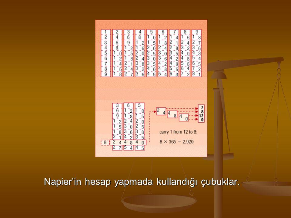 Napier'in hesap yapmada kullandığı çubuklar.