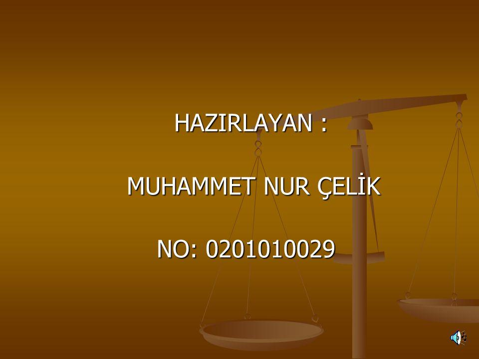 HAZIRLAYAN : MUHAMMET NUR ÇELİK NO: 0201010029